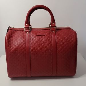 Gucci Red Micro GG Guccissima Boston Bag